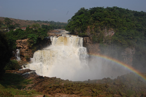 Rainbow over waterfall