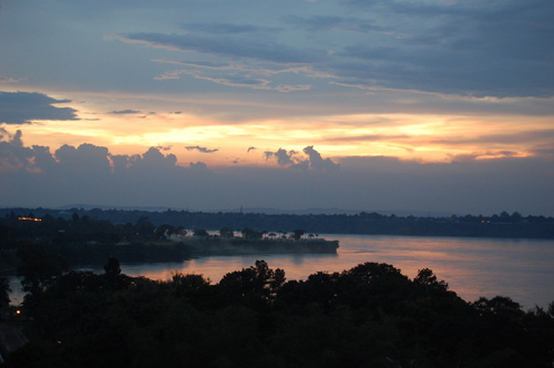 lake view in African sunset
