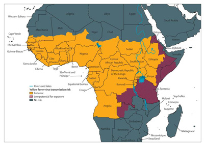 CDC Yellow Fever Map Africa
