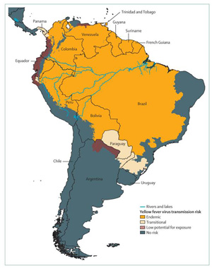 CDC Yellow Fever Map South America