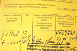 International Certificate of Vaccination