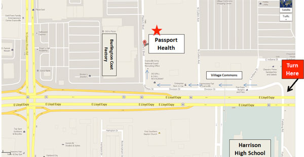 Passport Health Evansville Map