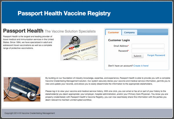 Passport Health Vaccine Registry