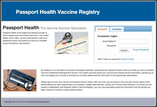 Passport Health Vaccine Registry