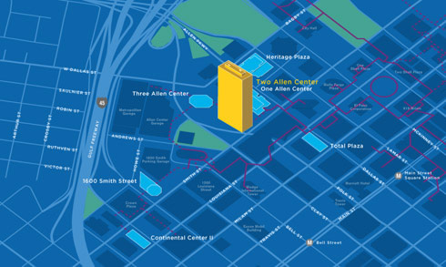 Downtown Houston Clinic Map of 2 Allen Center