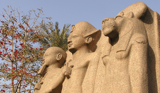 Ramesses, Ptah, Sekhmet statue in Eqypt