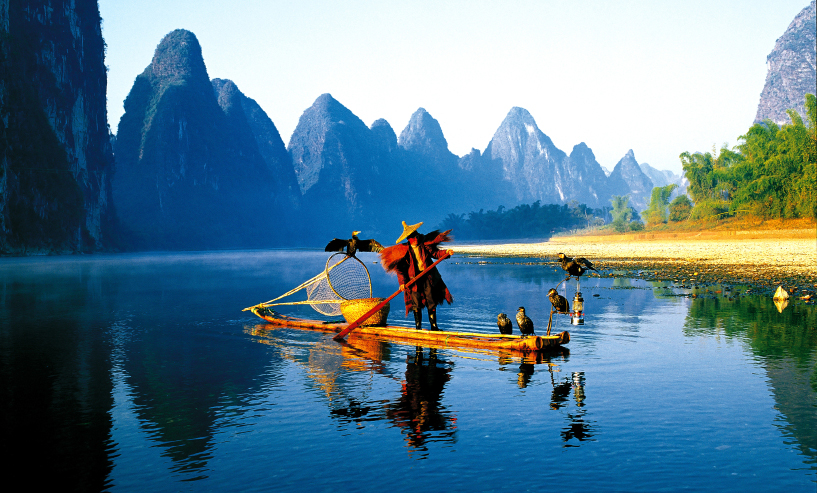 Fisherman on the Li River in Guilin, China