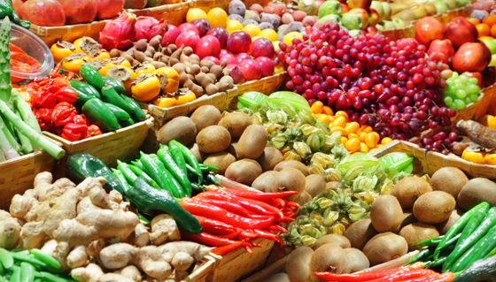 Fruits and Vegetables in a Market