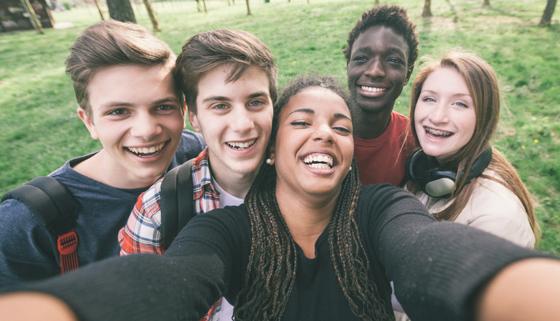 Group of happy teens