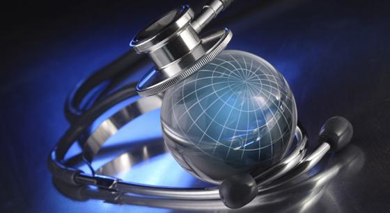 Global Health: globe with stethoscope