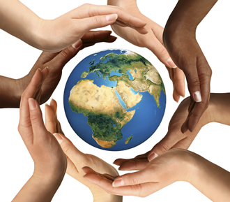 Humanitarian aid concept - hands around the world