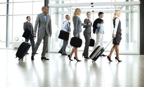 business travelers in airport