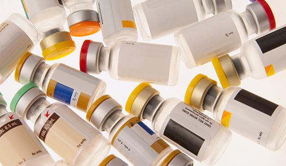 several vaccine vials