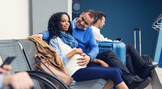pregnant traveler in airport
