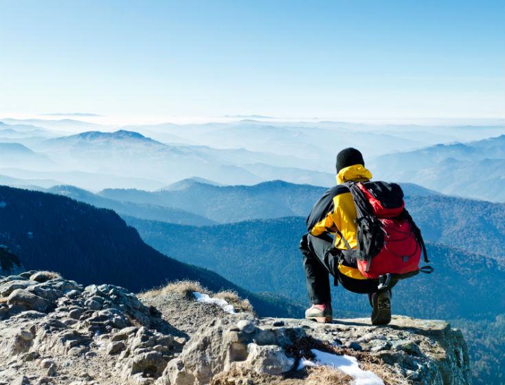 Hiking a mountain