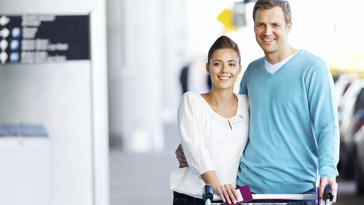 international travelers in airport