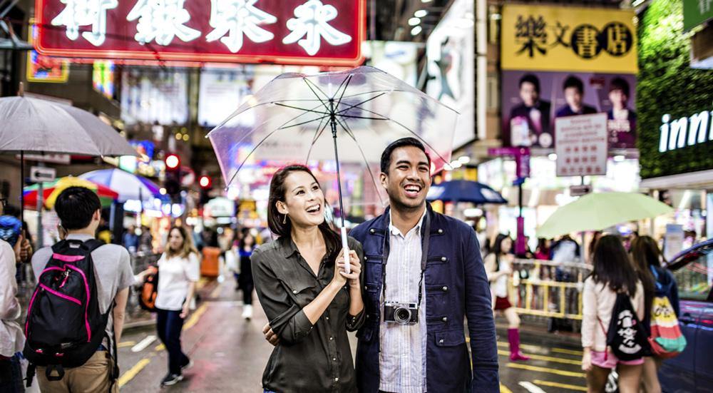 travelers in Hong Kong, China