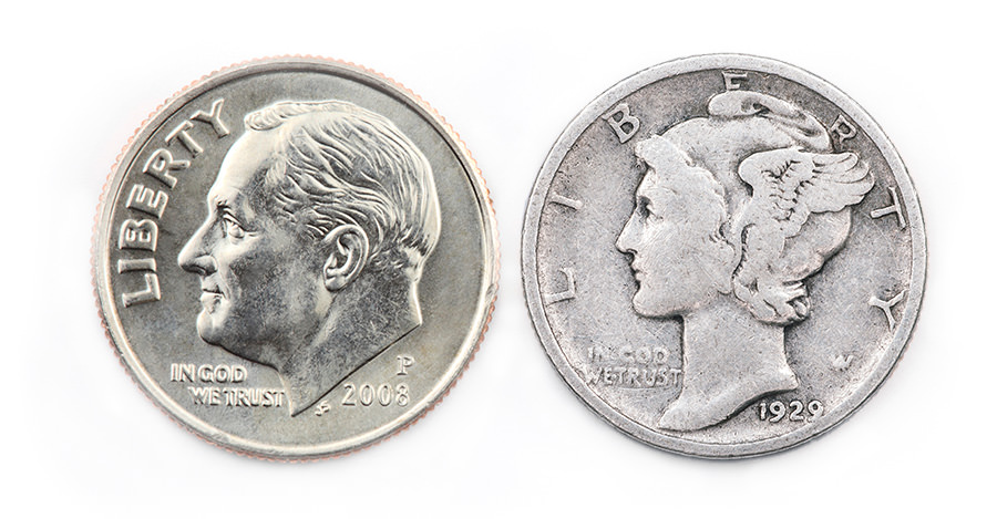 The Roosevelt dime side-by-side with the Liberty dime.