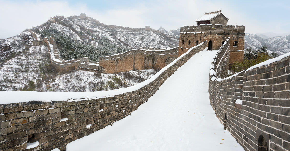 Landmarks like The Great Wall of China will be easiest to access during the winter.