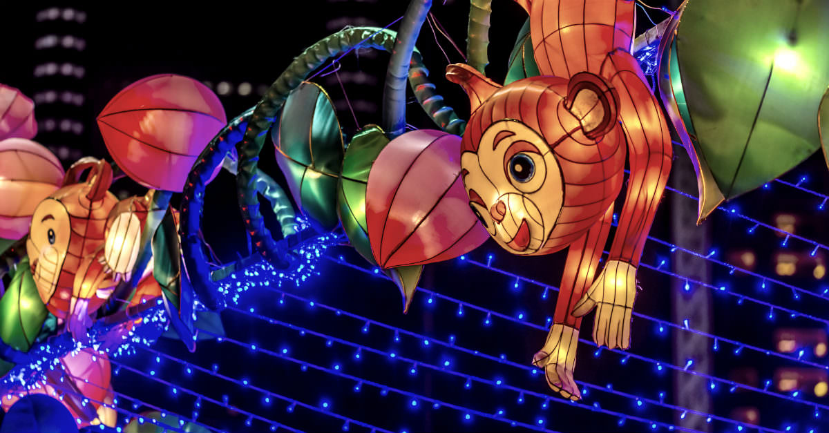 River Hongbao is decorated with overly sized lanterns in the shape of animals and landmarks.