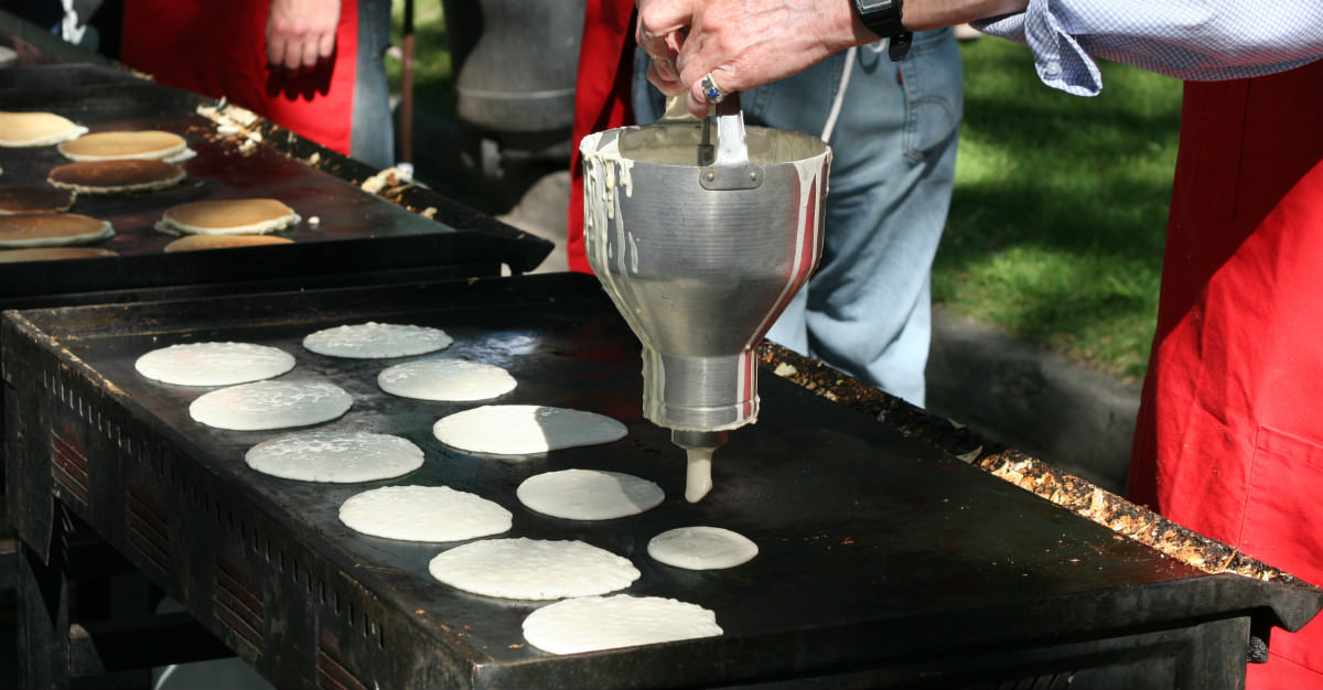 Massive pancake breakfasts are a tradition at the Calgary Stampede.