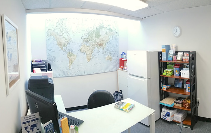 Passport Health's Alexandria consult room is the perfect place to receive travel vaccines and advice.