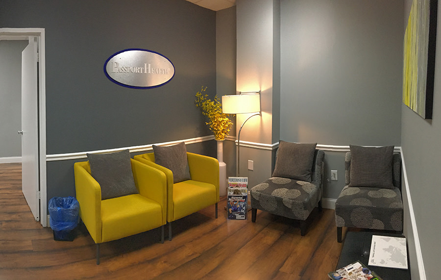 Passport Health's Bethesda clinic has a very comfortable and welcoming waiting room.