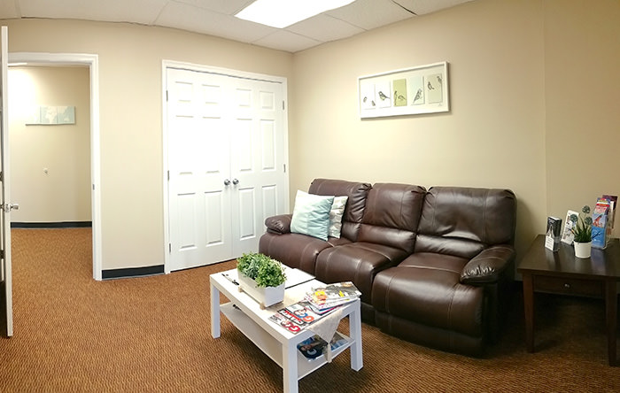 Passport Health's Bowie clinic has a very comfortable and welcoming waiting room.