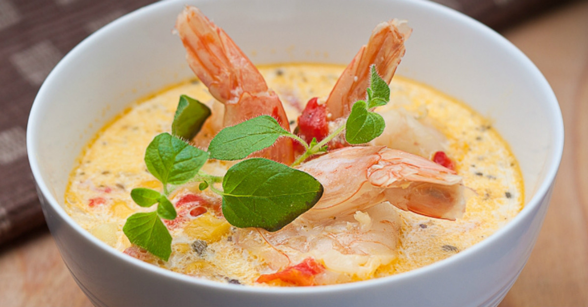 Cooked slowly with coconut milk, this soup would be ideal for fans of seafood.