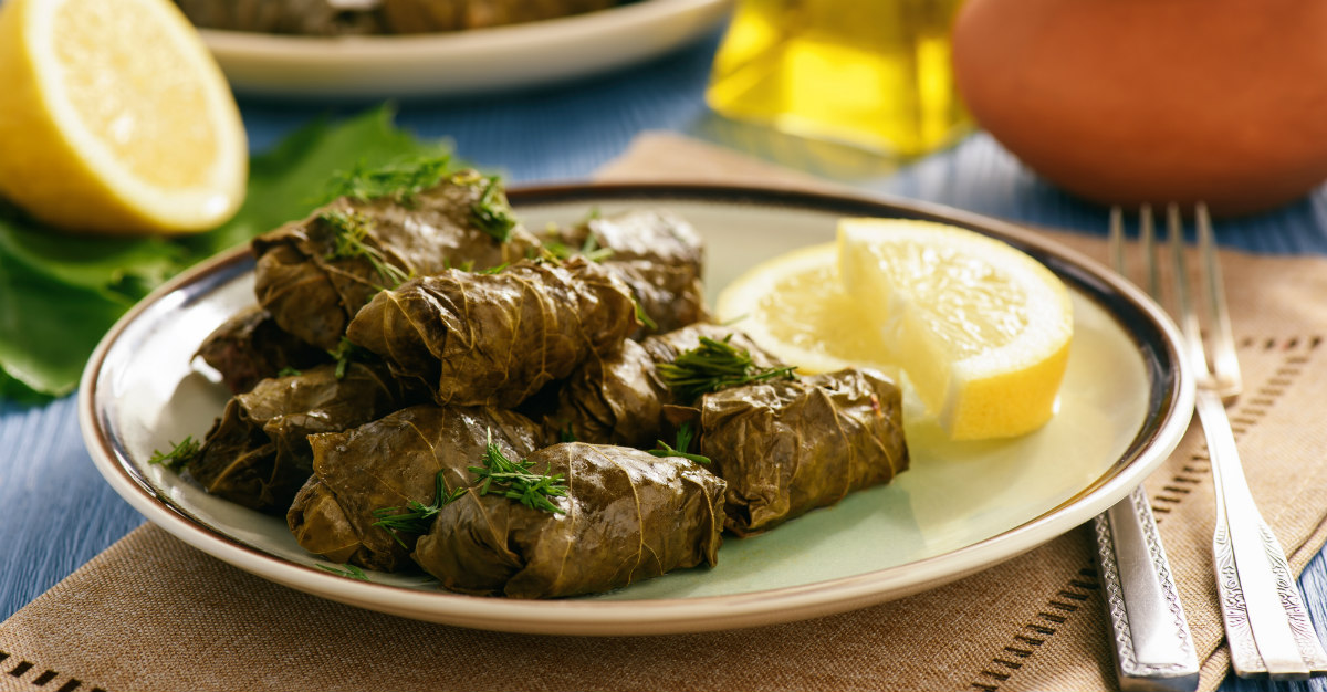 Vines or grape leaves wrapped around meat and rice create this versatile dish.