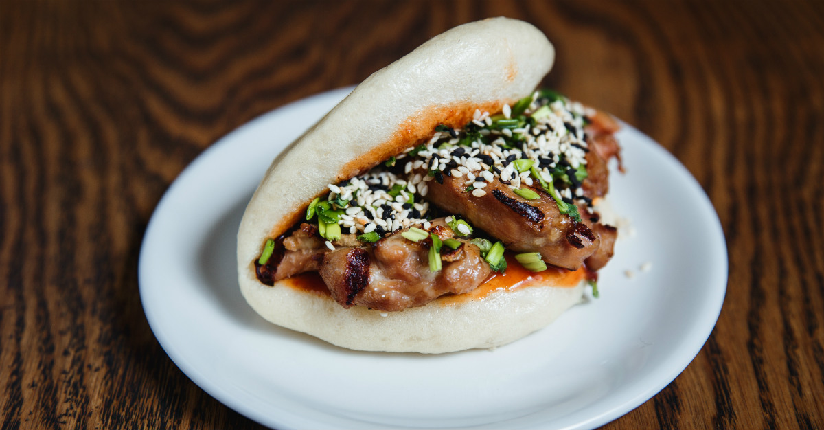It looks like a taco, but this steamed dish is more like a finger sandwich.