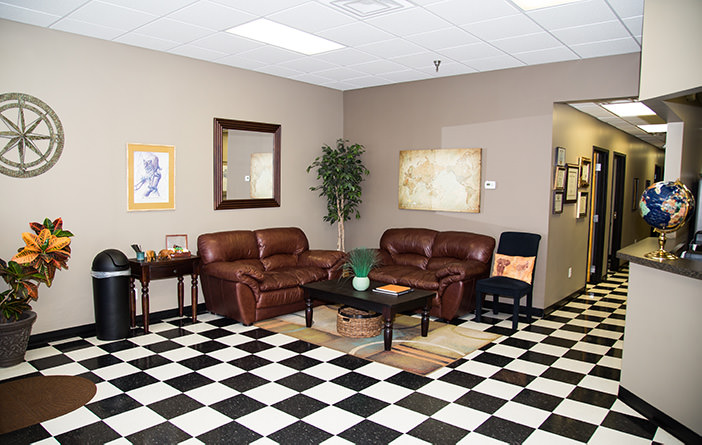 Passport Health's Blue Ash clinic has a very comfortable and welcoming waiting room.