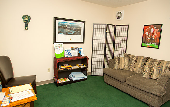 Passport Health's Central West Chester clinic has a very comfortable and welcoming waiting room.