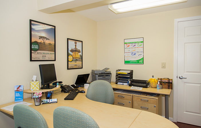 Passport Health's West Chester consult room is the perfect place to receive travel vaccines and advice.