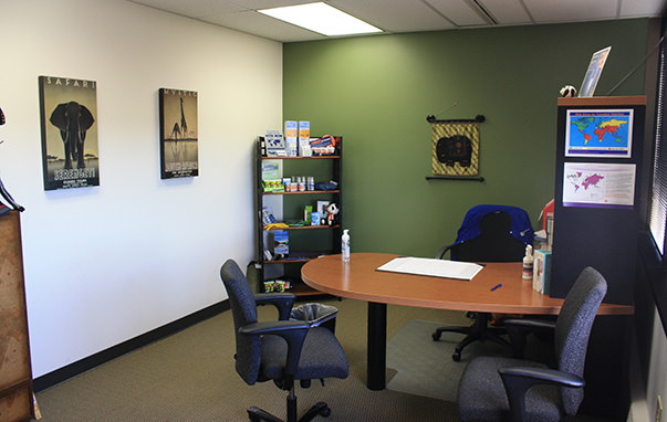 Passport Health's Cherry Creek consult room is the perfect place to receive travel vaccines and advice.