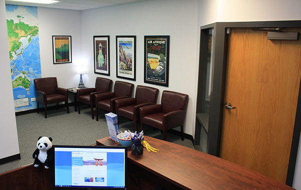 Passport Health's Parker clinic has a relaxing waiting room.