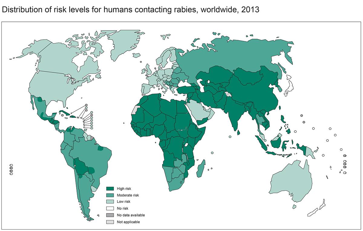 Map of rabies risk internationally