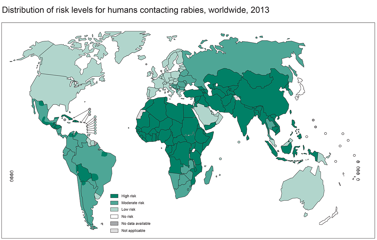 Map of rabies risk internationally