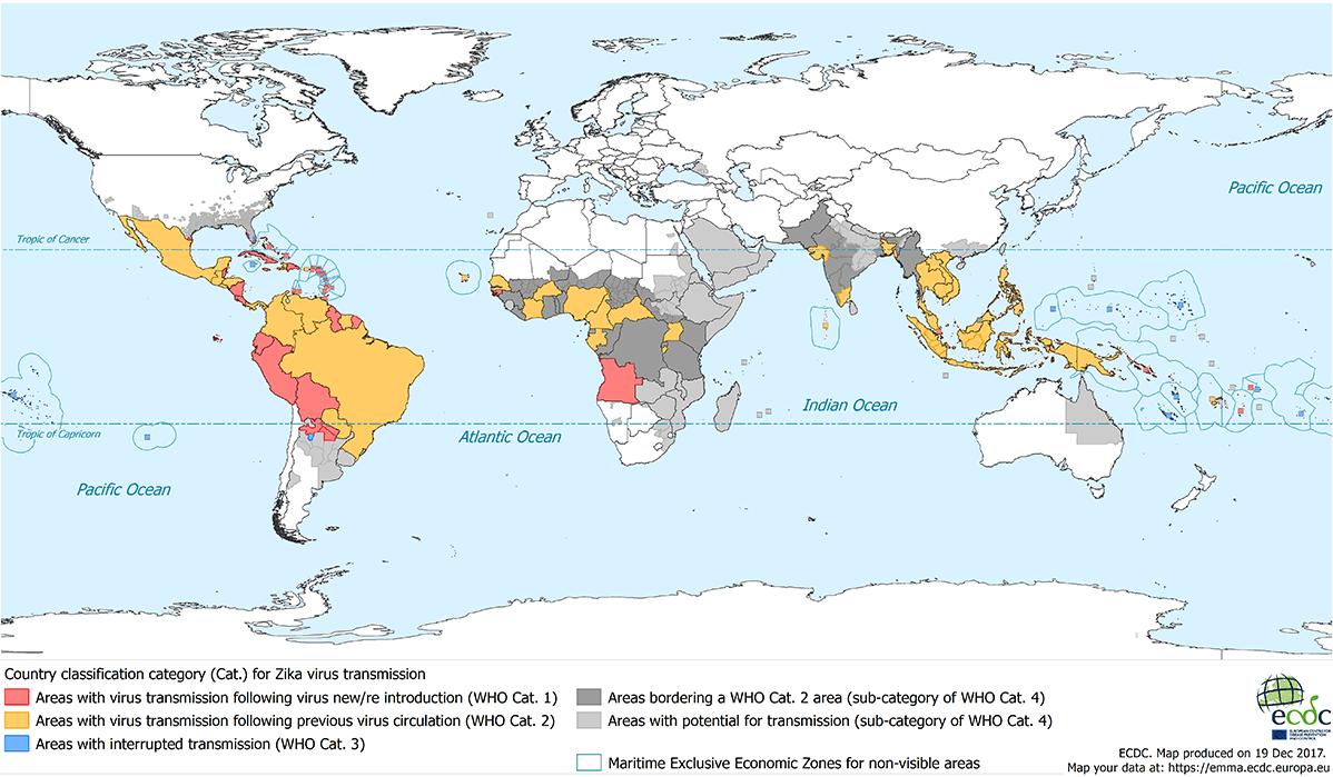 Map of Zika transmission