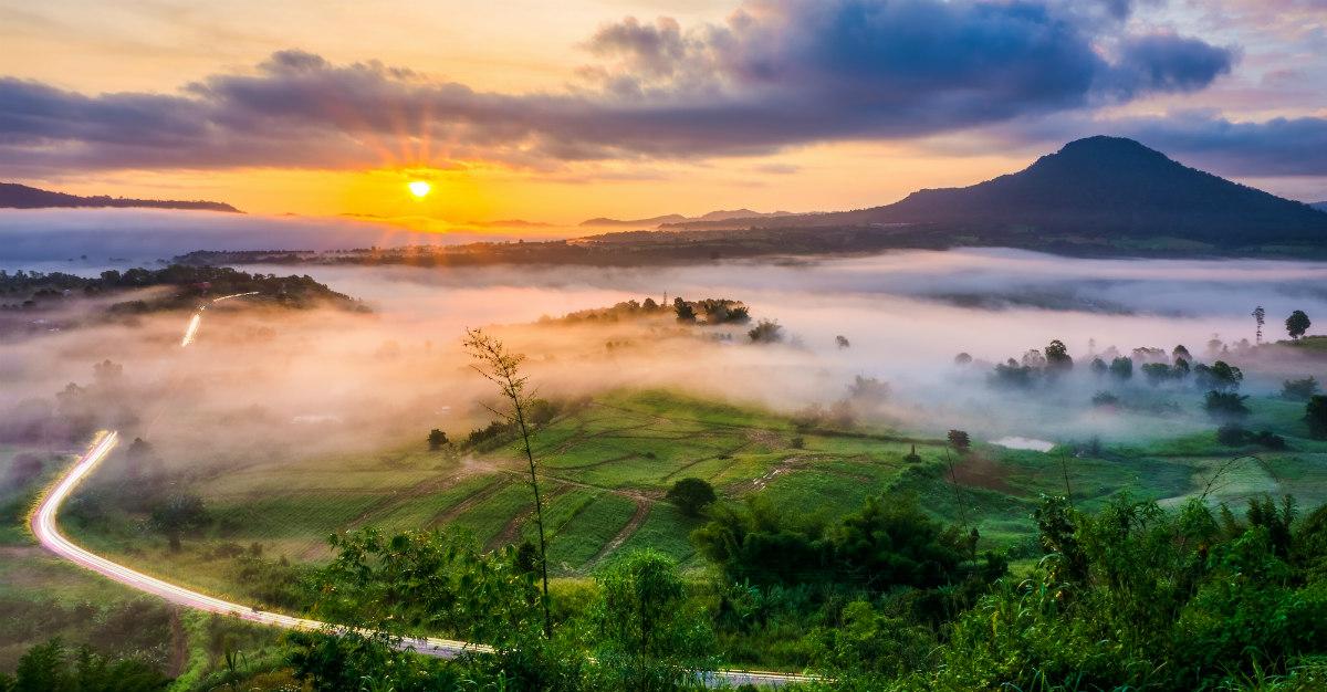 Sunrise over Southeast Asia.