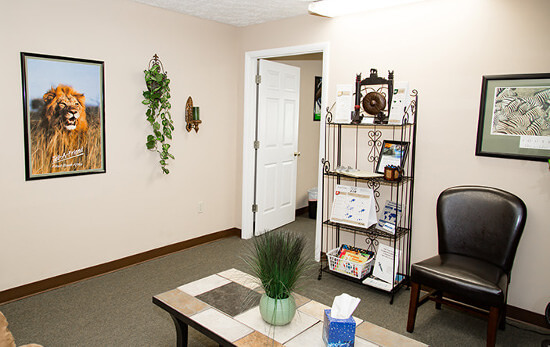 Passport Health's Anderson clinic has a very comfortable and welcoming waiting room.