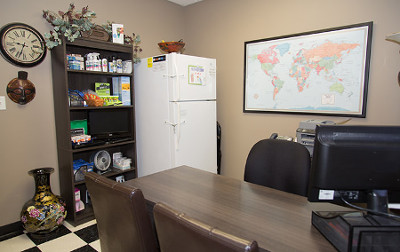 Passport Health's Blue Ash consult room is the perfect place to receive travel vaccines and advice.