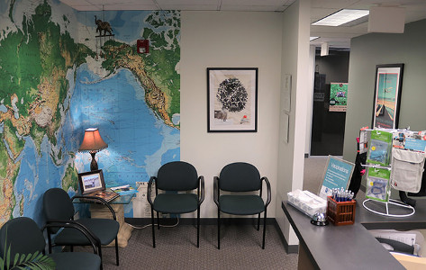 Passport Health's Lakewood clinic has a very comfortable and welcoming waiting room.