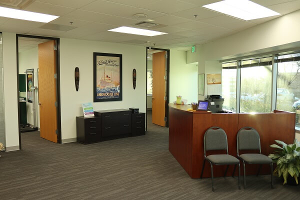 Passport Health's Greenwood Village waiting room is a relaxing comfortable place