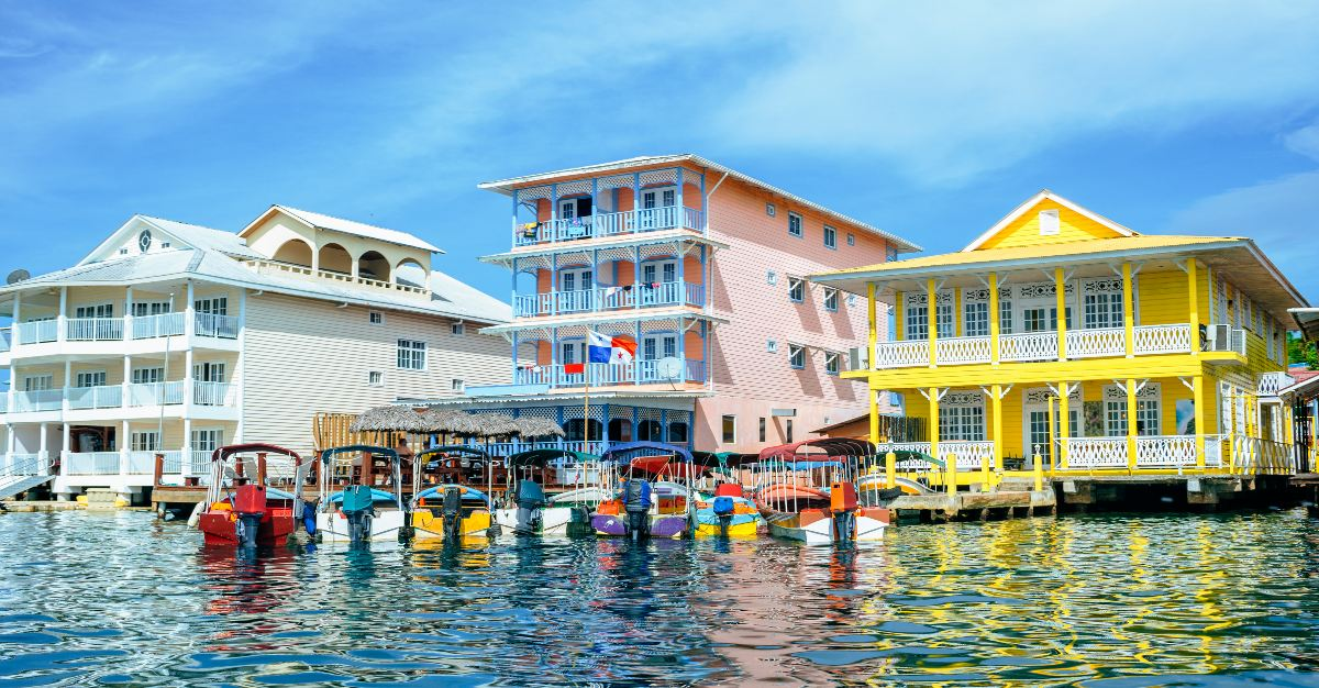 The colorful houses fill Bocas del Toro.
