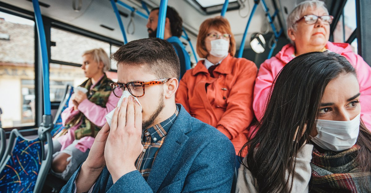 People traveling on public transit while sick can be a danger to both themselves, and others.