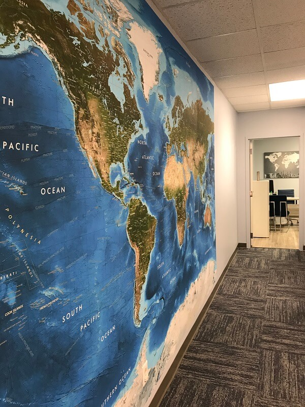 Charlotte travel clinic waiting room wall mural