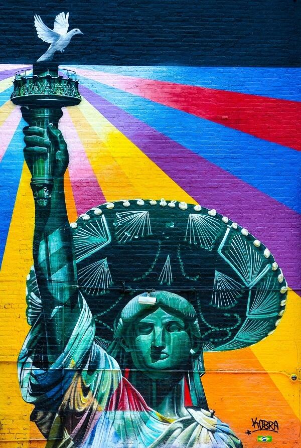 statue of liberty mural caleb wright