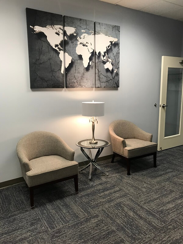North Charlotte travel clinic waiting room area one